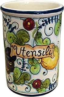 CERAMICHE D'ARTE PARRINI- Italian Ceramic Utensil Holder Vessel Hand Painted Made in ITALY Tuscan Art Pottery