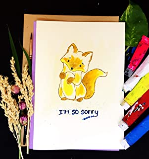 Sorry Cards, Lonely Squirrel, Self Design, All painted by hands, Acrylic Original Art on Light-Yellow Hard paper, None is the same, size 21 cm x 15 cm (A5) - 8.2