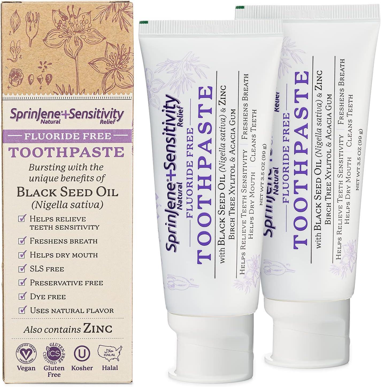 SprinJene Natural Fluoride Free Toothpaste for Sensitivity Relie