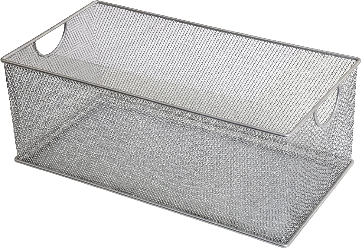YBM HOME Household Wire Mesh Open Bin Shelf Storage Basket Organizer for Kitchen, Cabinet, Fruits, Vegetables, Pantry Items Toys 2318s (1, 15.5 x 8 x 6.1)