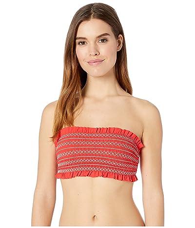 Tory Burch Swimwear Costa Bandeau Top (Poppy Red/New Ivory) Women