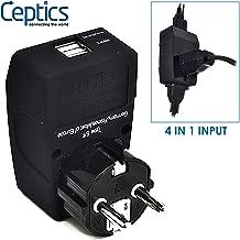 Ceptics GP4-9 2 USB Schuko Travel Adapter 4 in 1 Power Plug (Type E/F) - Universal Socket