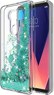LG V30 Case, LG V30 Plus Case, Rosebono Glitter Sparkly Bling Cute Liquid Shiny Luxury Moving Quicksand Clear TPU Protective Case Cover for LG V30 (Teal)
