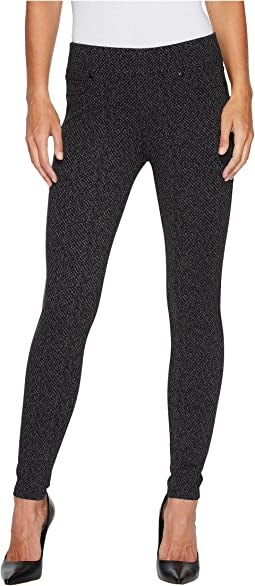 Sienna Pull-On Leggings in Herringbone Tweed Soft Ponte Knit in Magnet