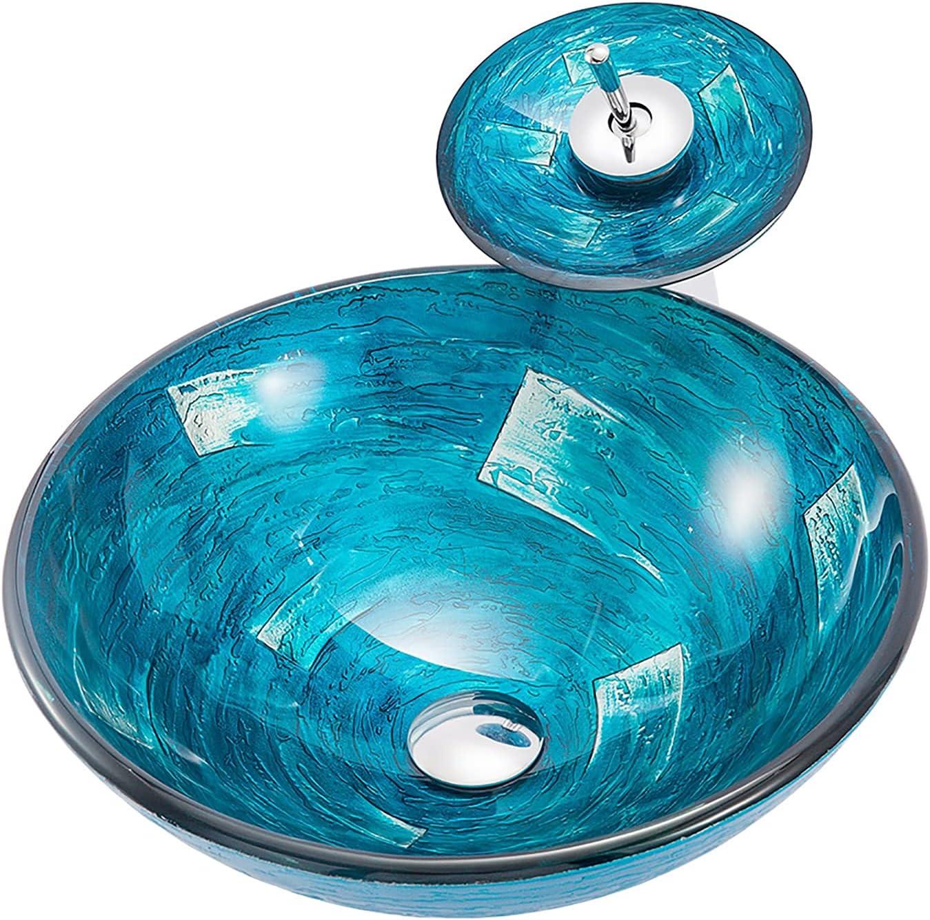 SHUGUANG Lavabo de Vidrio Templado, Lavabo Cristal Templado Azul Lavabo sobre Encimera para Baño Ronda Lavamanos Cristal Baño con Grifo de Cascada, Anillo de Montaje, Drenaje de Agua
