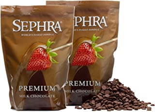 Sephra Premium Milk Fondue Chocolate for Chocolate Fountain, Kosher Dairy, Gluten and Trans Fat Free Dipping Chocolate, Chocolate Fountain Milk Chocolate Fondue, Best Baking Chocolate Chips, 4 LBS