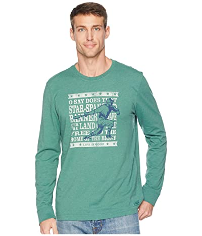 Life is Good Brave Baseball Crusher Long Sleeve T-Shirt (Heather Forest Green) Men