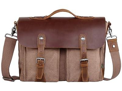 TSD Brand Hudson Canvas Messenger Bag (Brown) Messenger Bags