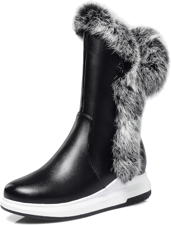 JIEEME Ladies Winter Fashion Round Toe Flats Zipper Mid-Calf Women Snow Boots