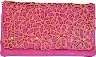 MoDA Hip Daisy Festival Clutch Stenciled Handbag with Detachable Chain Strap