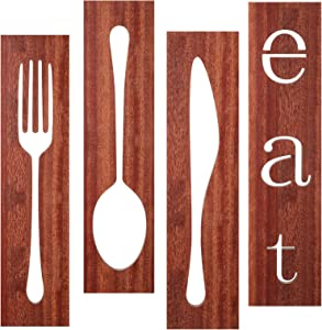 4 Pieces Wooden Eat Sign Fork Spoon Knife Wood Wall Signs Brown Rustic Eat Spoon Wood Signs Farmhouse Kitchen Wooden Wall Decors for Home Kitchen Dining Living Room Restaurant Decorations