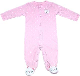 Baby Cotton Bodysuits Set Cute Cat Print Romper Pink
