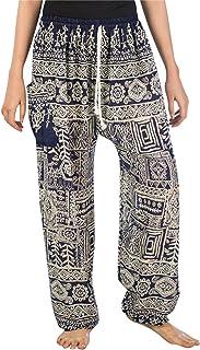 Lofbaz Pantaloni Coulisse da Donna Pavone Funky Floral Harem Pants Taglia Unica