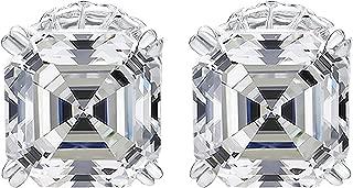 NANA Sterling Silver Asscher-Cut Swarovski Zirconia Stud Earrings,(4 cttw) Hypoallergenic