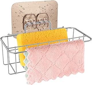 2 in 1 Sponge Holder+Rag Holder for Kitchen Sink with Adhesive, 304 Stainless Steel Kitchen Sink Sponge holder Organization Basket, Kitchen Sink Caddy holder-Easy to Use
