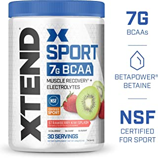 Scivation XTEND Sport BCAA Powder Strawberry Kiwi   NSF Certified for Sport + Sugar Free Post Workout Muscle Recovery Drink with Amino Acids  30 Servings   Packaging May Vary