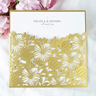 Partecipazioni matrimonio taglio laser fai da te inviti matrimonio oro carta con busta - campione prestampato !!