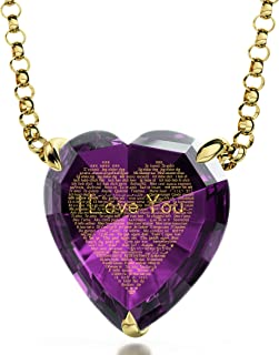 Gold Plated Heart Pendant I Love You Necklace 24k Gold Inscribed in 120 Languages in Miniature Text on Sparkling Brilliant Cut Heart-Shaped Cubic Zirconia Gemstone, 18