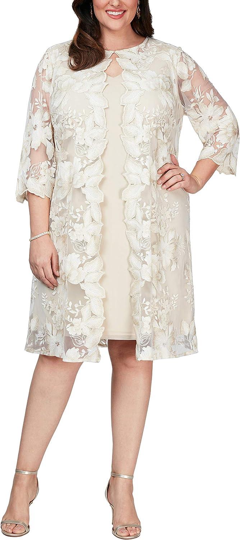 Alex Evenings Women's Plus Size Midi Scoop Neck Shift Dress with Jacket