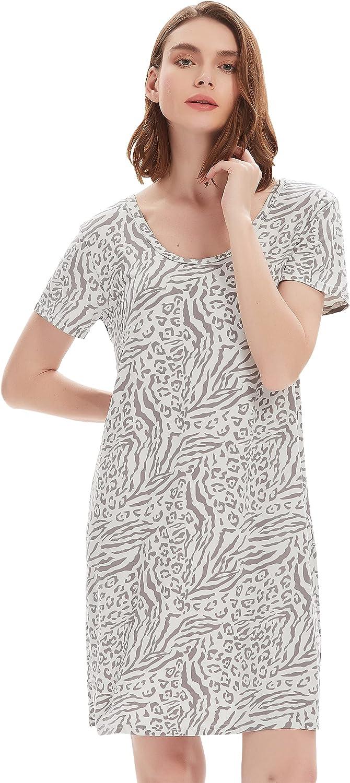 FELEMO Selling Women's Nightgown Short Columbus Mall Sleeve Shir Sleep Comfy Sleepwear