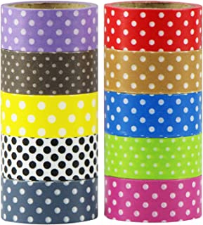 MOEUP 10 x DIY Washi Tape Set Dots Multicolor Decoration Scrapbooking 4m x 15mm