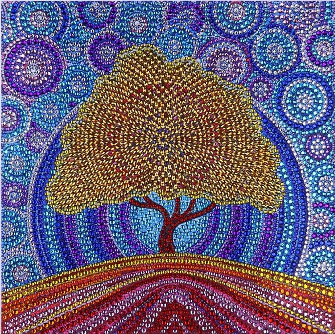 XYEBS DIY 5D Diamond Painting by Number Kit for Children Adults, Crystal Resin and Special Shaped Drill Embroidery Dotz Kit Cross Stitch Arts Craft Canvas Wall Decor-Gold Tree 12x12 inches