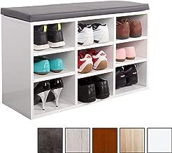 RICOO Banco de Armario Zapatería WM035-W-A Estanterías con Asientos Acolchado para la casa Entrada de Madera Baúl de Botas Banco Zapatero de Almacenamiento de Zapatos Color Blanco/Gris Antracita