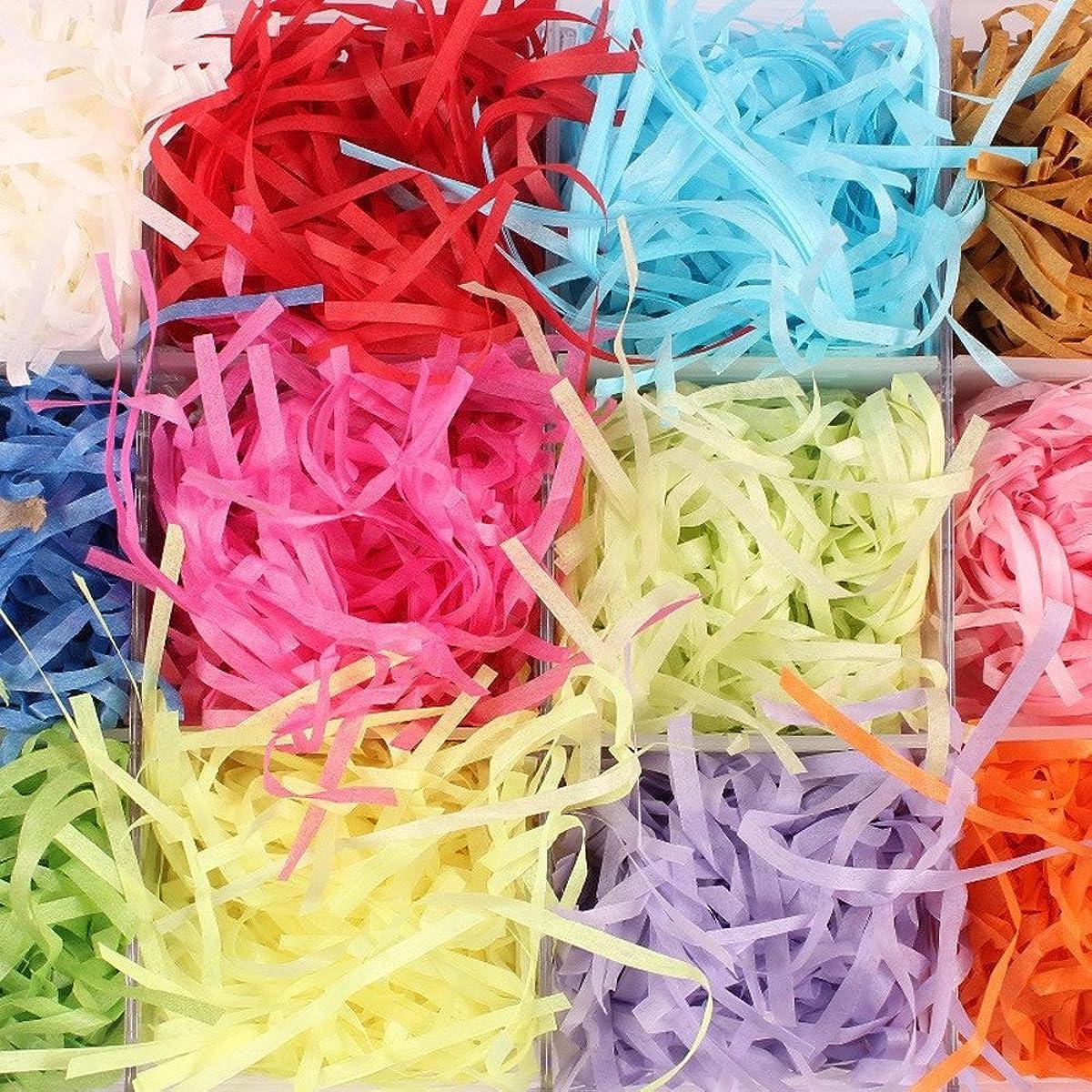 HUELE 200g Paper Shreds & Strands Shredded Crinkle Paper Raffia Paper Confetti DIY Dry Straw Gifts Box Filling Material (20g/Bag )