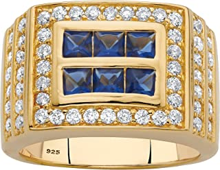 Men's 18K Yellow Gold over Sterling Silver Square Cut Simulated Blue Sapphire and Round Cubic Zirconia Ring