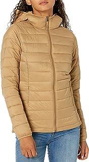 Amazon Essentials Mujer Abrigo plumífero con capucha resistente al agua, de manga larga y ligero