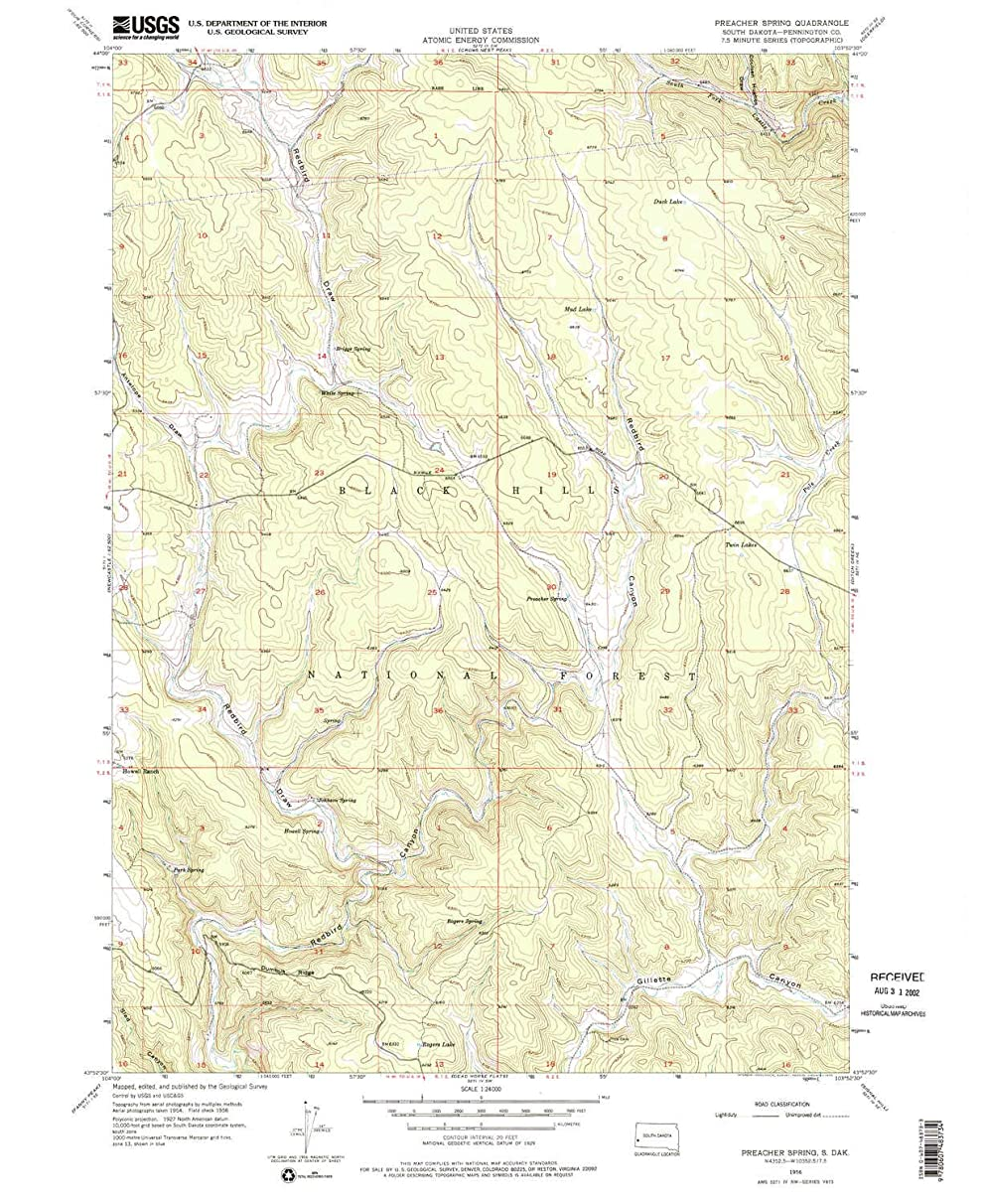 YellowMaps Preacher Spring SD topo map, 1:24000 Scale, 7.5 X 7.5 Minute, Historical, 1956, Updated 1974, 26.9 x 22 in