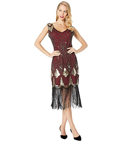 Unique Vintage Sequin Lina Fringe Flapper Dress (Red/Gold) Women