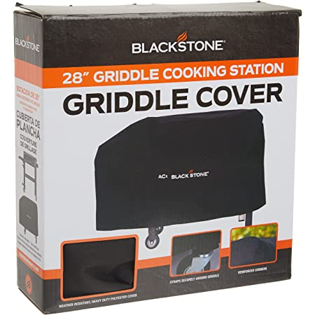 """Blackstone 1528 Water, Weather Resistant Heavy Duty 600D Polyester Outdoor BBQ Grilling Cover –– Fits 28"""" Griddle with Shelf Attached & Tailgater, Black"""