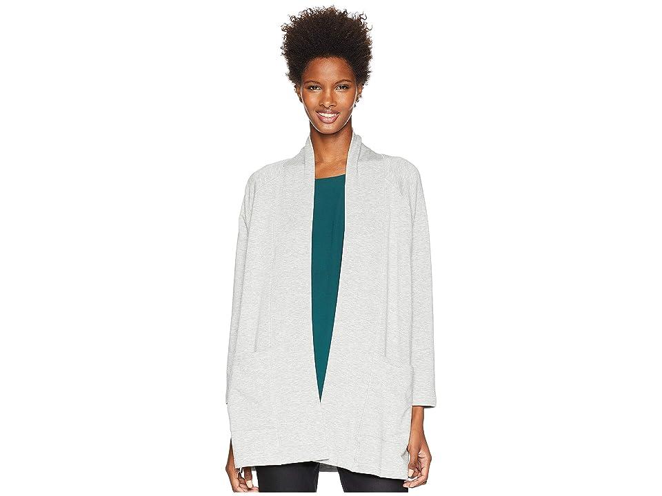 Eileen Fisher Tencel Organic Cotton Fleece Kimono Long Cardigan (Dark Pearl) Women