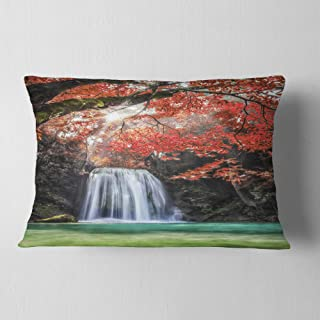 Designart Erawan Waterfall' Photography Throw Lumbar Cushion Pillow Cover for Living Room, Sofa 12 in. x 20 in