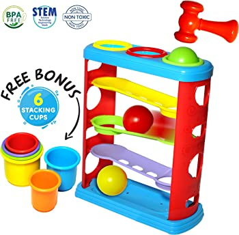 Gleeporte Pound a Ball Toy for Toddlers with 6 Bonus Stacking Cups