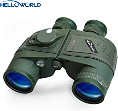 World Optical Binoculars 10X50 Marine Military Binoculars with Night Vision Rangefinder and Compass 100% Waterproof BAK4 for Adults Kids for Floating Birdwatching Hunting with Carry Bag and Strap