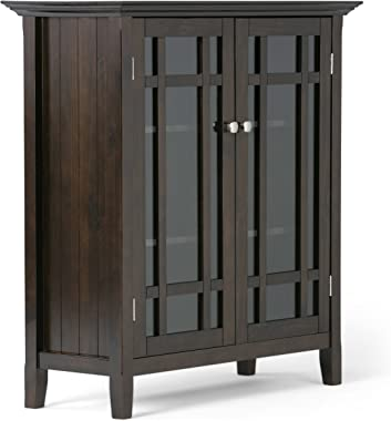 "Simpli Home Bedford Storage Media Cabinet, 39"" WX42 H, Dark Tobacco Brown"