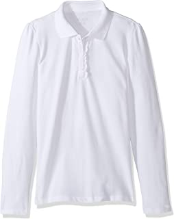 Big Girls' Long Sleeve Ruffle Polo Shirt
