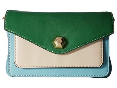 Frances Valentine Tess Color Block Clutch (Light Blue/Oyster/Green) Clutch Handbags