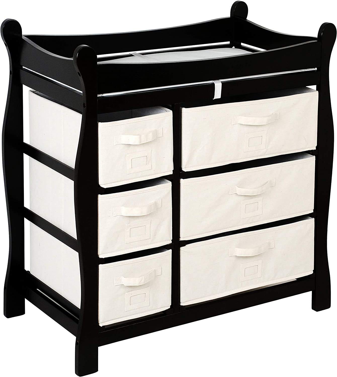 Badger Basket Baby Changing Table with Six Baskets, Black