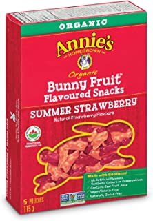 Annie's Organic Bunny Fruit Snacks, Summer Strawberry, 5 Pouches, 0.8 oz Each (Pack of 4)