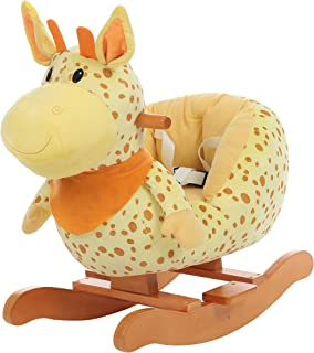 labebe - Baby Rocking Horse, Plush Baby Rocker, Ride on Toy for 1-3 Year Old, Kid Wooden Rocking Horse, Nursery/Toddler/Infant Rocking Animal, First Rocking Horse for Baby Girl/Boy - Giraffe Rocker
