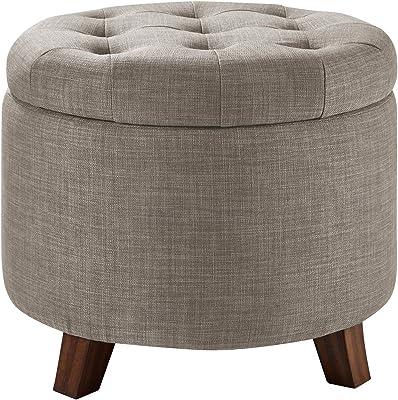 "Amazon Basics Upholstered Tufted Storage Ottoman Footstool, 17""H, Gray"