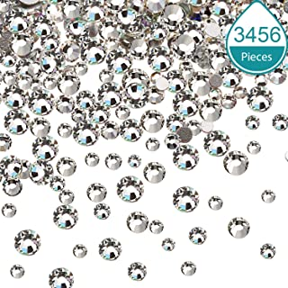 Bememo 3456 Pieces Nail Crystals AB Nail Art Rhinestones Round Beads Flatback Glass Charms Gems Stones, 6 Sizes for Nails Decoration Makeup Clothes Shoes (Crystal Clear, Mixed SS4 5 6 8 10 12)