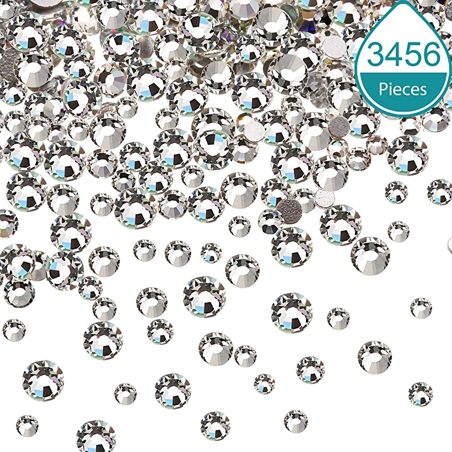Bememo Nail Crystals Nail Art Rhinestones Round Beads Flatback Glass Charms Gems Stones, 6 Sizes for Crafts Nails Decoration Makeup Clothes Shoes (Crystal Clear, 3456 Pieces)