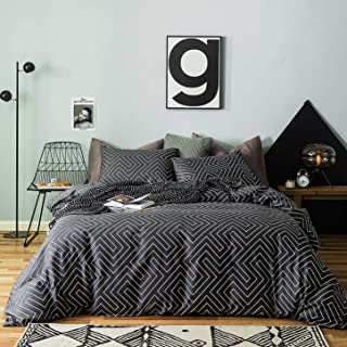 SUSYBAO 3 Pieces Duvet Cover Set 100% Natural Cotton Queen Size Black and White Maze Geometric Striped Bedding with Zipper Ties 1 Duvet Cover 2 Pillowcases Luxury Quality Soft Breathable Easy Care
