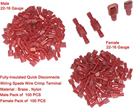 Cofufu 200 Pcs 22-16 Gauge Red Nylon Female and Male Fully-Insulated Quick Disconnects Wiring Spade Wire Crimp Terminal (Female 100Pcs, Male 100Pcs)