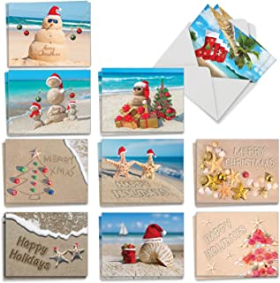 Season's Beachin - 20 Beach Merry Christmas Cards with Envelopes (4 x 5.12 Inch) - Assorted Ocean Beach Vacation - Boxed Xmas Holiday Notecard Set for Kids (10 Designs, 2 Cards Each) AM6651XSG-B2x10