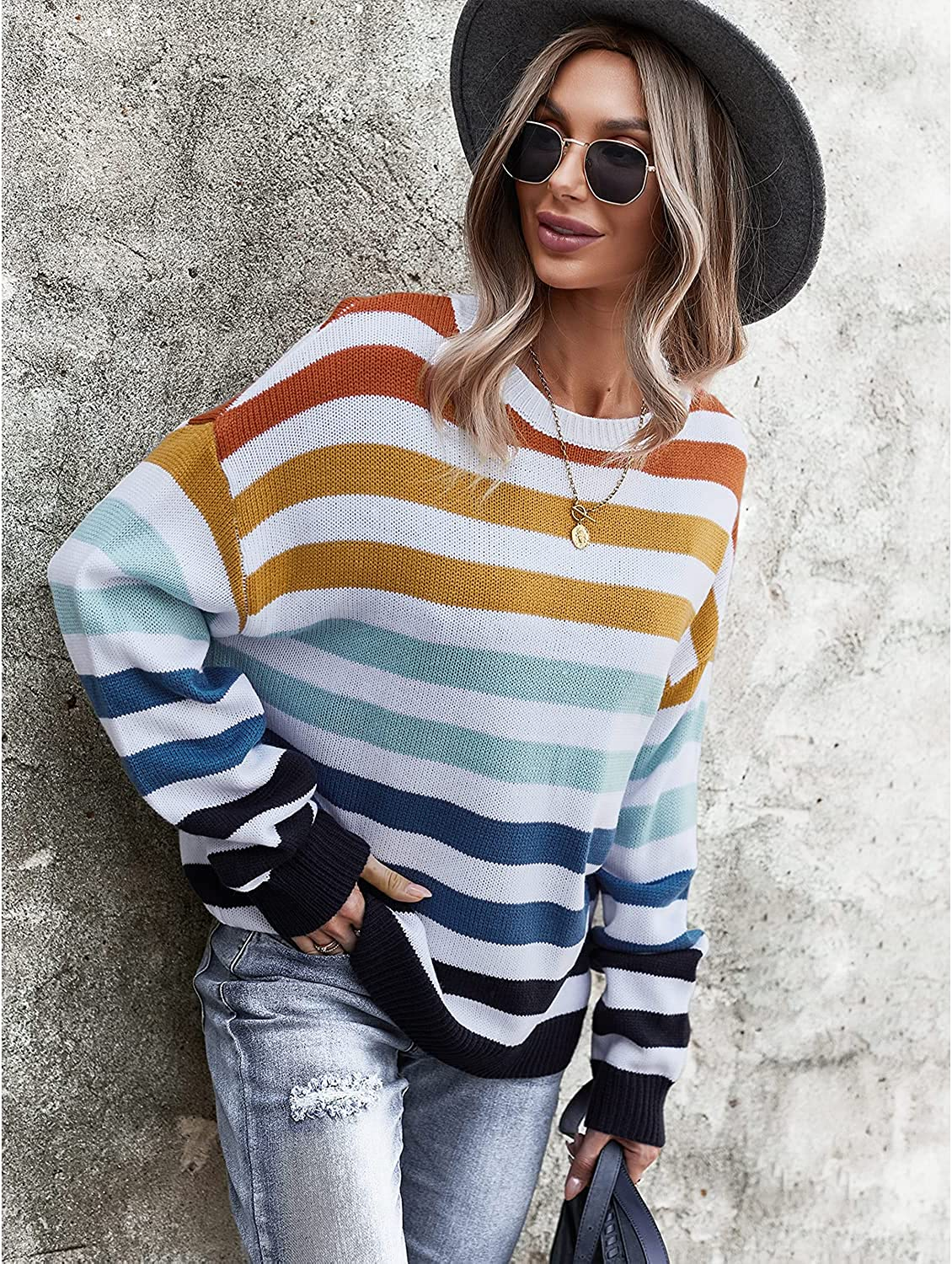 BROVEVA Women's Casual Long Sleeve Crewneck Striped Color Block Loose Knit Sweaters Pullover Tops
